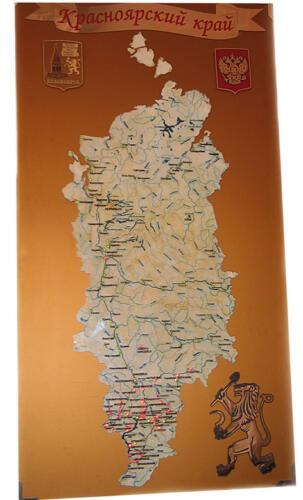 карта Красноярского края 1500-800 с подсветкой светодиодами