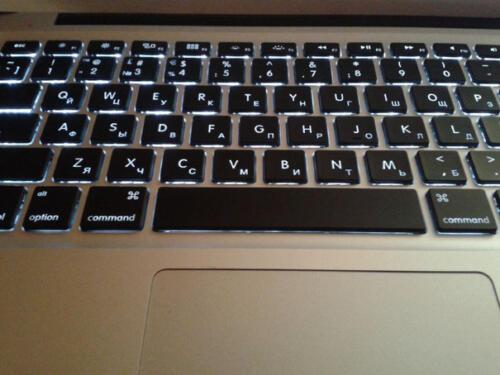 гравировка - русские буквы на MacBook