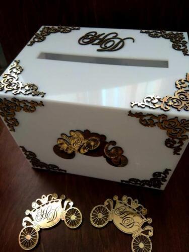 Ящик для денег на свадьбу. Оргстекло, пластик золото. 2500 руб.